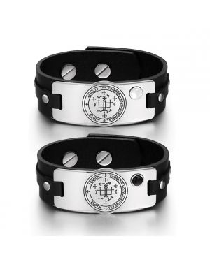 Archangel Gabriel Sigil Love Couples White Simulated Cat Eye Simulated Onyx Black Leather Bracelets