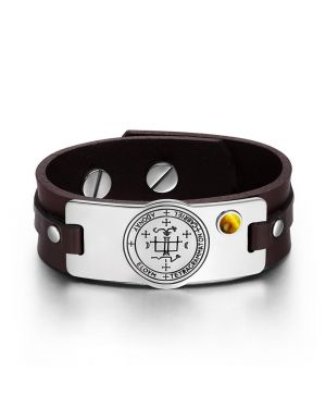 Archangel Gabriel Sigil Magic Powers Amulet Tiger Eye Gemstone Adjustable Brown Leather Bracelet