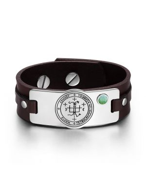 Archangel Gabriel Sigil Magic Powers Amulet Green Quartz Gemstone Adjustable Brown Leather Bracelet