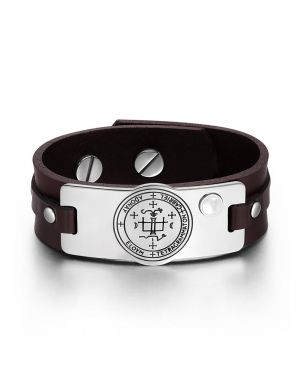 Archangel Gabriel Sigil Magic Power Amulet White Simulated Cats Eye Brown Leather Bracelet