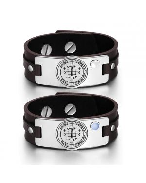 Archangel Gabriel Sigil Love Couples White Blue Simulated Cats Eye Amulet Brown Leather Bracelets