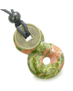 Infinity Magic Knot Lucky Coin and Spiritual Protection Amulet Unakite Gemstone Pendant Necklace