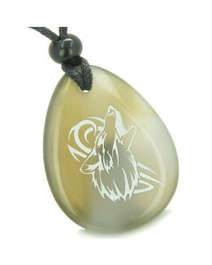 Amulet Courage Howling Wolf Good Luck Powers Agate Totem Pendant Necklace