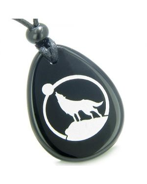 Amulet Courage Howling Wolf Moon Spiritual Powers Onyx Totem Pendant Necklace