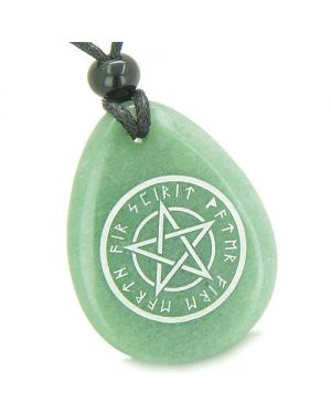Amulet Magical Pentacle Runic Star Powerful Defense Good Luck Aventurine Totem Pendant Necklace