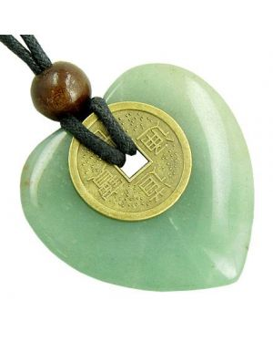 Heart Money Amulet Lucky Coin in Green Aventurine Stone Necklace