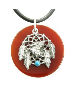 The Amulet Carnelian Wolf Magic Dream Catcher Circle Rubber Necklace