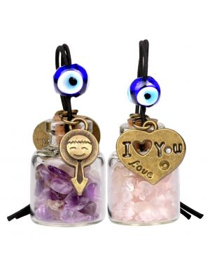 Love Couple I Love You Heart Small Car Charms or Home Decor Bottles Amethyst Rose Quartz Amulets