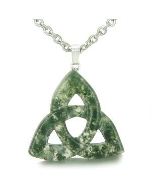 Celtic Triquetra Knot Magic Amulet Green Moss Agate Good Luck Powers Gemstone Pendant Necklace