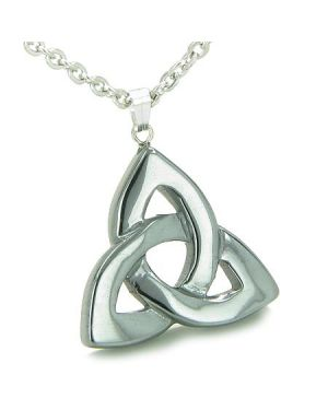 Celtic Triquetra Knot Magic Amulet Hematite Evil Eye Protection Powers Gemstone Pendant Necklace