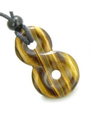 Infinity Healing Magic Powers Knot Amulet Tiger Eye Gemstone Pendant Necklace