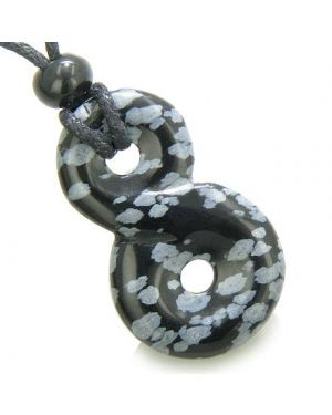 Infinity Magic Powers Knot Lucky Charm Evil Eye Protection Amulet Snowflake Obsidian Necklace