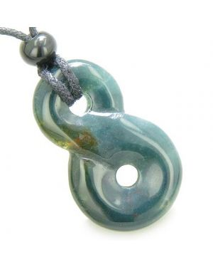 Infinity Magic Powers Knot Lucky Charm Good Luck Amulet Indian Agate Gemstone Pendant Necklace