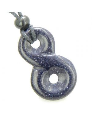 Infinity Magic Powers Knot Lucky Charm Good Luck Amulet Goldstone Blue Gemstone Pendant Necklace
