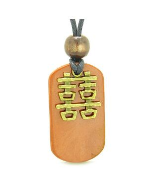 Double Happiness Feng Shui Amulet Fortune Magic Powers Red Jasper Tag Pendant Necklace