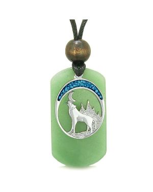 Howling Wolf Wild Moon Protection Powers Green Quartz Simulated Turquoise Amulet Pendant Necklace