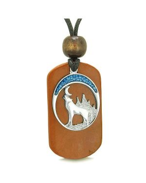 Howling Wolf Wild Moon Protection Powers Red Jasper Simulated Turquoise Amulet Pendant Necklace
