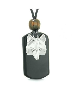 Courage and Wise Wolf Head Protection Magic Powers Black Agate Amulet Tag Pendant Necklace