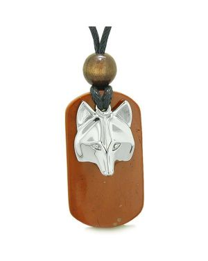 Courage and Wise Wolf Head Protection Magic Powers Red Jasper Amulet Tag Pendant Necklace