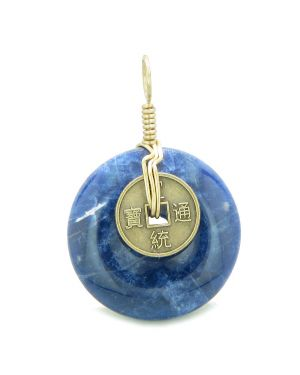Lucky Coin Donut Gold-Tone Good Luck Powers Fortune Amulet Sodalite Unique Pendant
