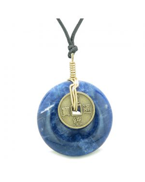 Lucky Coin Donut Gold-Tone Good Luck Powers Fortune Amulet Sodalite Unique Necklace