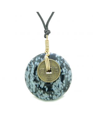 Lucky Coin Donut Gold-Tone Good Luck Powers Fortune Amulet Snowflake Obsidian Unique Necklace