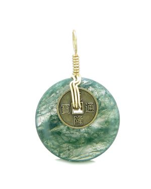 Lucky Coin Donut Gold-Tone Good Luck Powers Fortune Amulet Green Moss Agate Unique Pendant