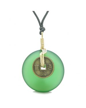 Lucky Coin Donut Sea Glass Gold-Tone Positive Energy Fortune Amulet Forest Green Unique Necklace