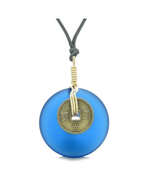 Lucky Coin Donut Sea Glass Gold-Tone Positive Energy Fortune Amulet Ocean Blue Unique Necklace
