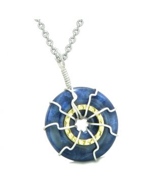 Positive Energy Sun Eternity Circle Gold-Silver-Tone Sodalite Donut Amulet 22 Inch Necklace