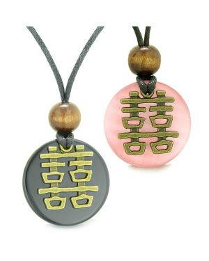 Double Happiness Love Couples Yin Yang Fortune Amulets Agate Pink Cats Eye Medallion Necklaces