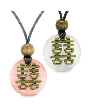 Double Happiness Love Couples Yin Yang Powers Fortune Amulets White and Pink Cats Eye Necklaces