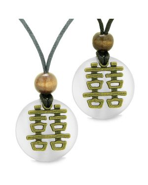Double Happiness Love Couples Yin Yang Powers Fortune Amulets White Cats Eye Medallion Necklaces
