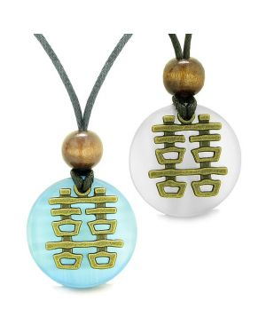 Double Happiness Love Couples Yin Yang Powers Fortune Amulets White and Sky Blue Cats Eye Necklaces