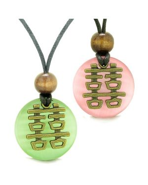 Double Happiness Love Couples Yin Yang Powers Fortune Amulets Green Pink Cats Eye Necklaces