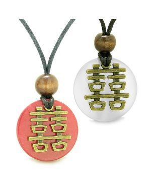 Double Happiness Love Couples Yin Yang Powers Fortune Amulets White Cats Eye Red Quartz Necklaces