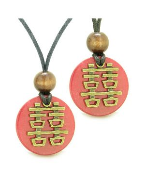Double Happiness Love Couples Yin Yang Powers Fortune Amulets Cherry Red Quartz Medallion Necklaces