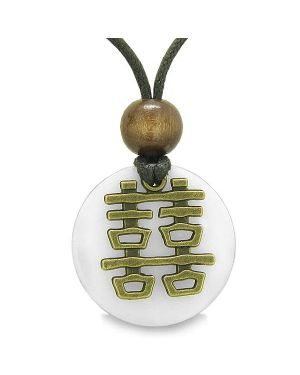 Double Happiness Feng Shui Amulet Fortune Powers White Snowflake Quartz Coin Medallion Necklace