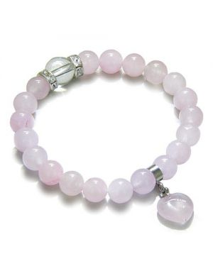 Amulet Love Powers Swarovski Crystals and Rose Quartz Gemstones Heart Lucky Charm Bracelet