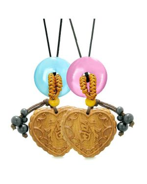 Fortune Heart Car Charm Home Decor Blue Pink Simulated Cats Eye Donut Couples Best Friend Amulets