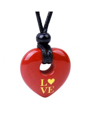 Magic Inspirational Lucky Heart Donut Charm Love Powers Red Jasper Necklace