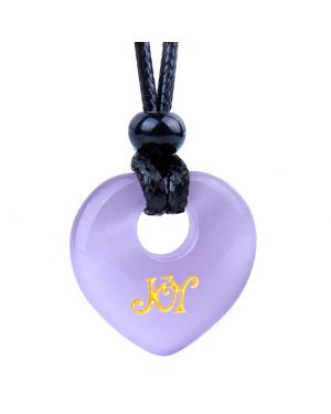 Magic Inspirational Lucky Heart Donut Charm Joy and Love Powers Cute Purple Simulated Cats Eye Necklace