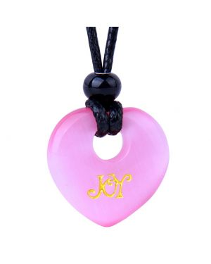 Magic Inspirational Lucky Heart Donut Charm Joy and Love Powers Cute Pink Simulated Cats Eye Necklace