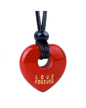 Magic Inspirational Lucky Heart Donut Charm Love Forever Powers Red Jasper Necklace