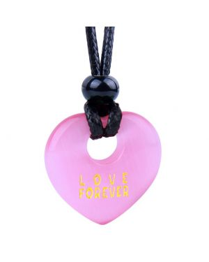 Magic Inspirational Lucky Heart Donut Charm Love Forever Powers Cute Pink Simulated Cats Eye Necklace