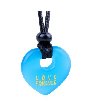 Magic Inspirational Lucky Heart Donut Charm Love Forever Powers Sky Blue Simulated Cats Eye Necklace