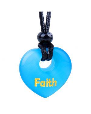 Magic Inspirational Lucky Heart Donut Charm Faith and Love Powers Sky Blue Simulated Cats Eye Necklace