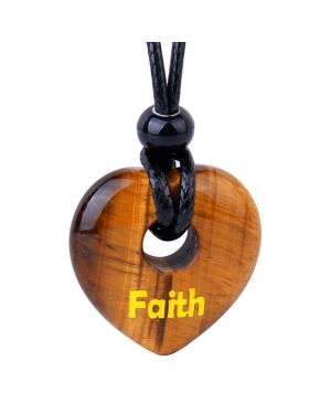 Magic Inspirational Lucky Heart Donut Charm Faith and Love Powers Tiger Eye Necklace
