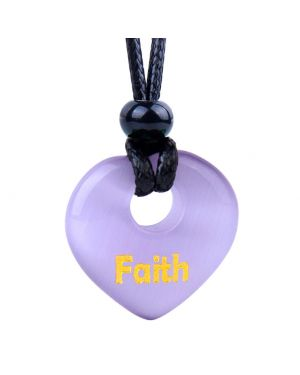 Magic Inspirational Lucky Heart Donut Charm Faith and Love Powers Cute Purple Simulated Cats Eye Necklace