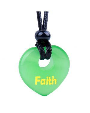 Magic Inspirational Lucky Heart Donut Charm Faith and Love Powers Neon Green Simulated Cats Eye Necklace